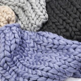 chunky wool extra large knit blanket