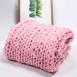 pink giant hand knit blanket