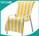 yellow  white stripe lounge chair cover beach towel bt0061